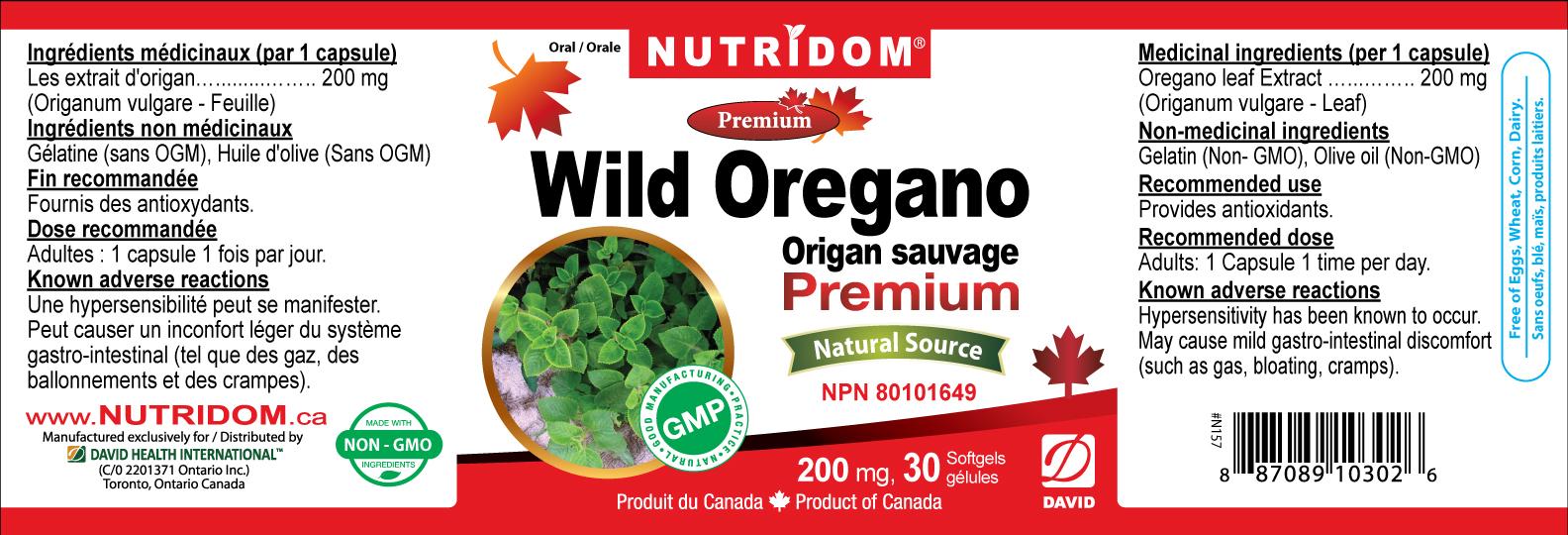 Nutridom Wild Oregano 200mg 30 Softgels