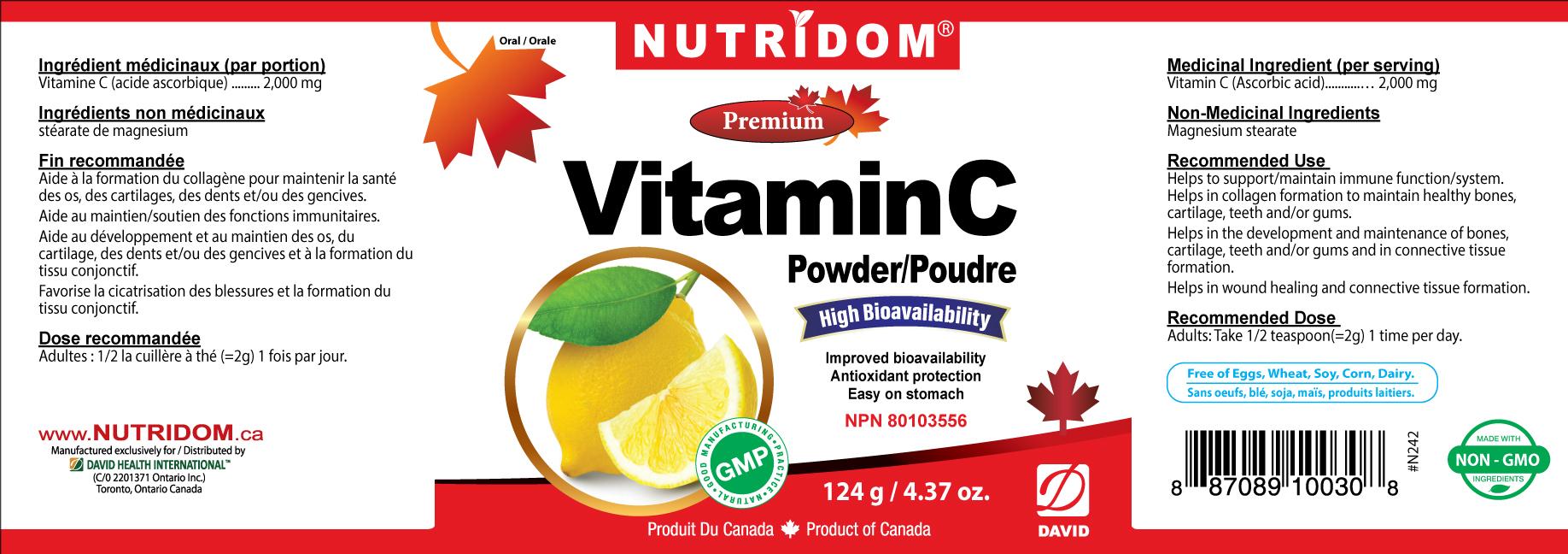 Nutridom Vitamin C Powder 124g