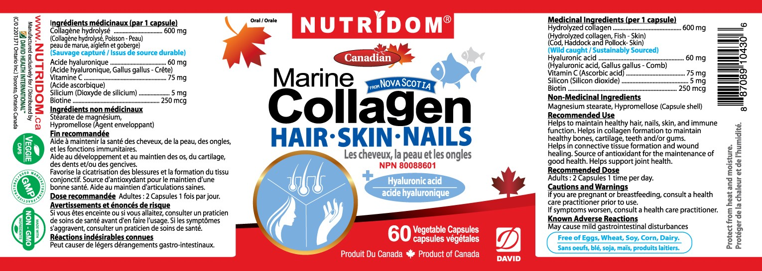 Nutridom Marine Collagen 60 Vcaps + Hair, Skin, and Nails -  3 PACK