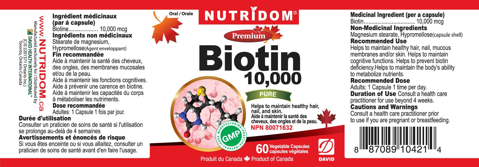 Nutridom Biotin 10,000mcg 60 Vcaps