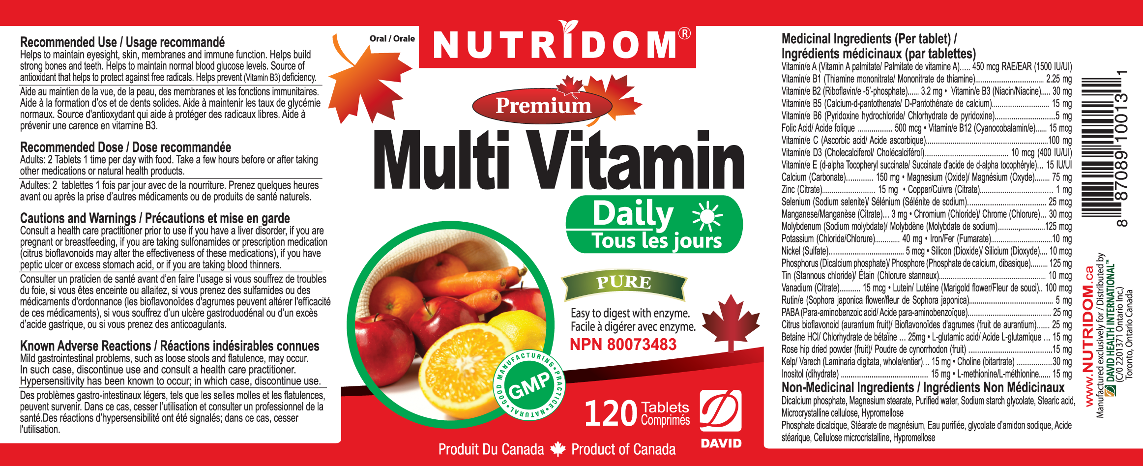 Nutridom Multi Vitamin Daily 120 Tablets