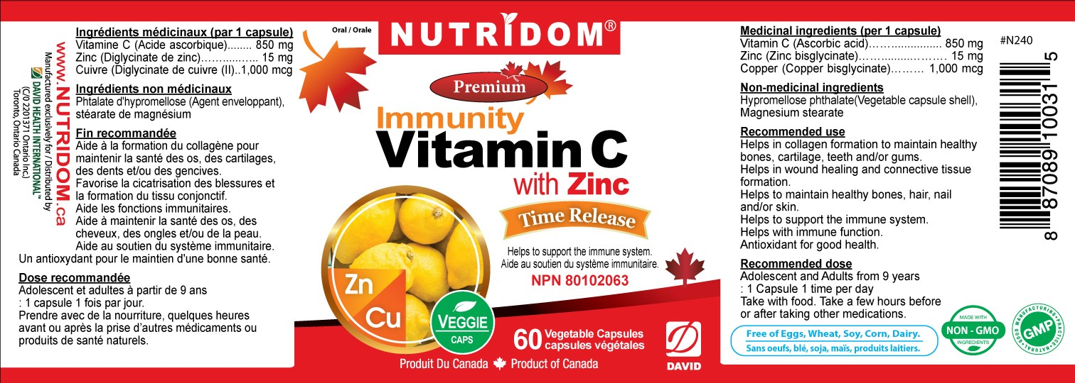 Nutridom Vitamin C with zinc 60 Vcaps