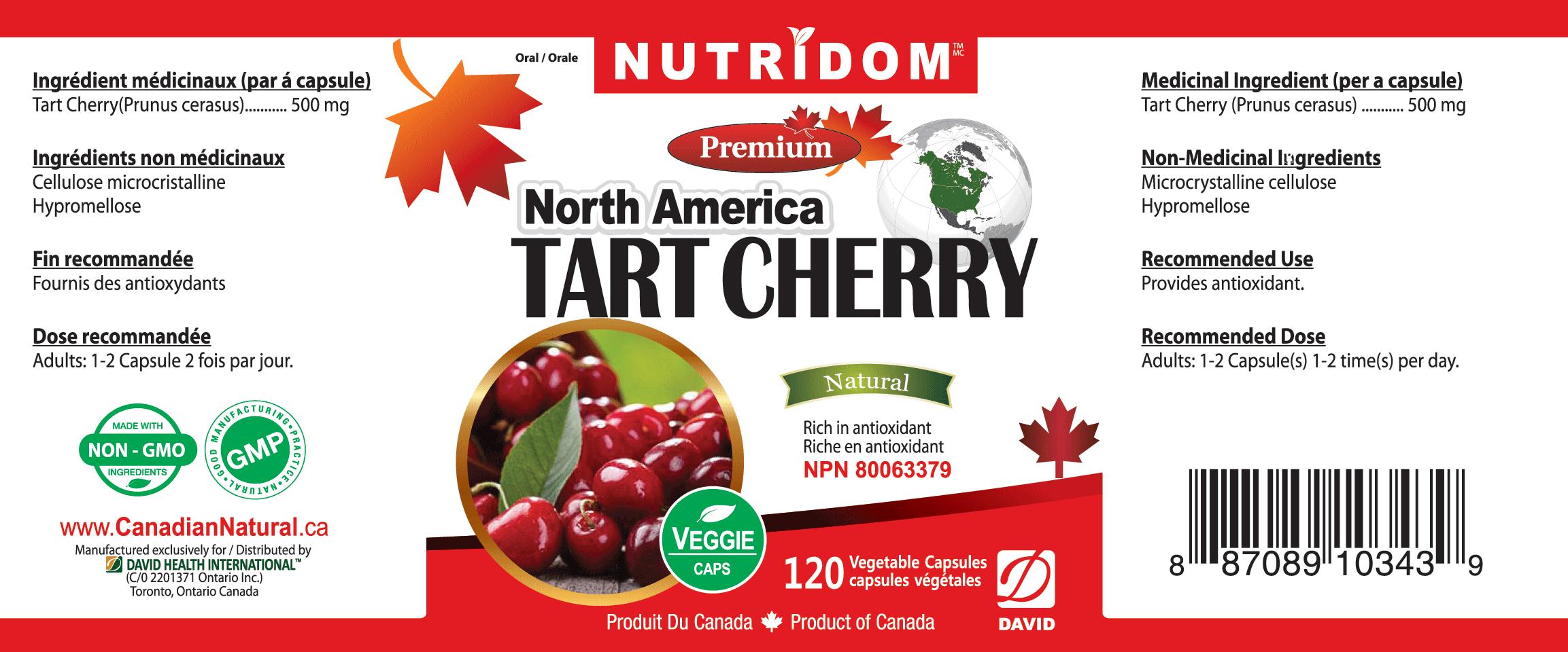 Nutridom Tart Cherry 500mg 120 Vcaps - 6 PACK